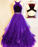 Burgundy Crop Top Prom Dress Girls Formal Party gown