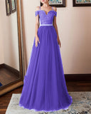 A Line Lace and Tulle Prom Dress Girls Senior Graduation Long Gown