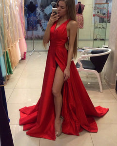 Elegant V Neck Red Long Prom Dress with Straps Girls Senior Graduation
