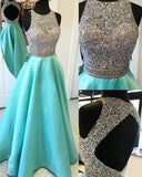 Elegant Keyhole Back O Neck Beaded Rhinestone Aqua Blue Prom Girls Dresses Long