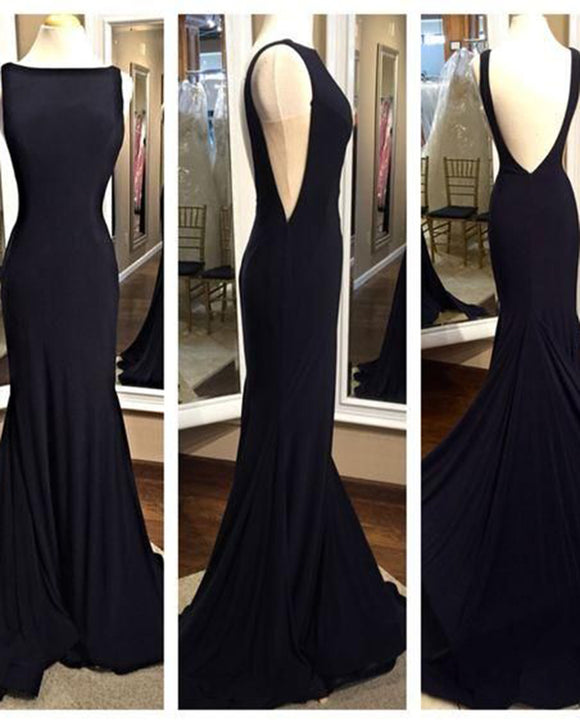 Elegant Long Backless Mermaid Fitted Black Formal Evening Dress with Sweep Train PL1101