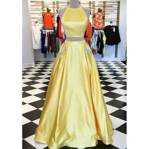 Halter Two Pieces Yellow Prom Dress Girls Long Graduation Party Gown with Beaded Pocket