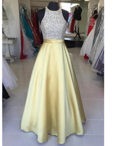 Beading Halter A Line 2020 Yellow Prom Dresses Girls Party Gown