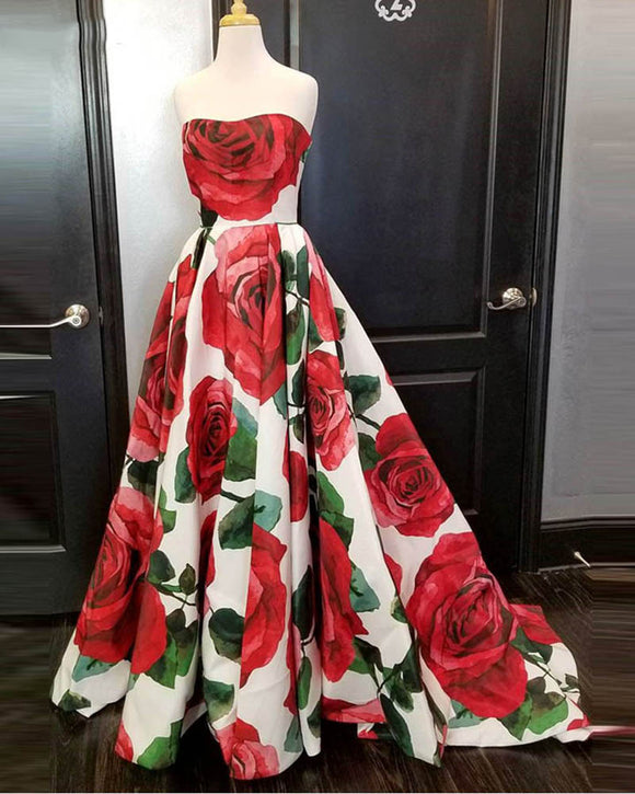 Elegant Strapless Floral Print Prom Dresses Girls Formal Wear 2019