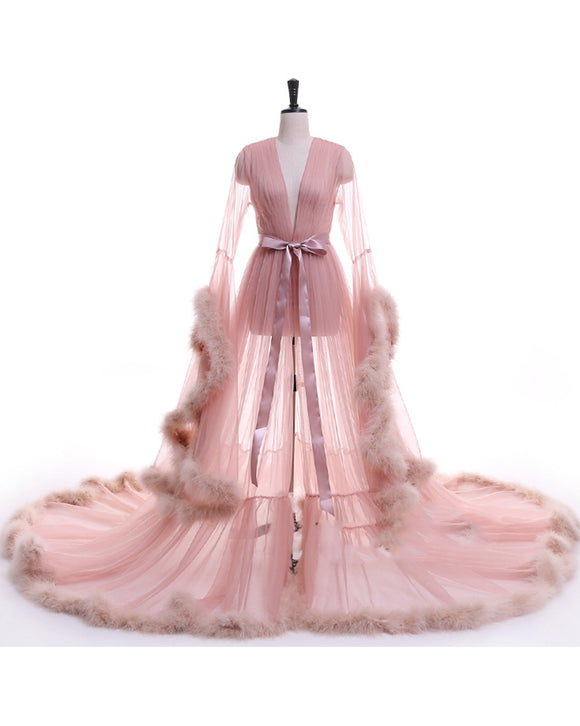 See through Robe Gown Robe De Soiree V Neck Feather Long Sleeve Tulle Party Evening Dresses