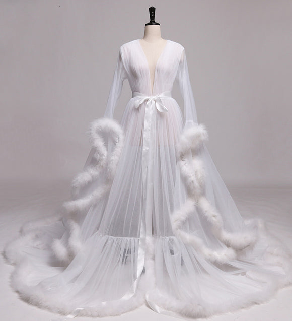 Wedding Robe Gown Feather Robe De Soiree V Neck with Long Sleeve Tulle Prom Dresses