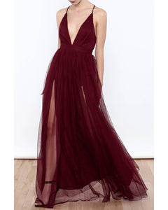 Burgundy Spaghetti Straps Sexy Long Party Gown V Neck Evening Prom Dress