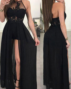 Halter High Low Appliques Lace Chiffon Black Prom Dresses Long PL1201