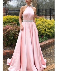 Classy Halter Pink  Long Girls Homecoming Dresses PL1100