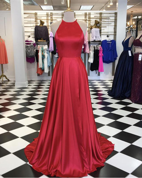 Halter Open back  A Line Girls Formal Prom Dresses Long Vestido De Longo 2019