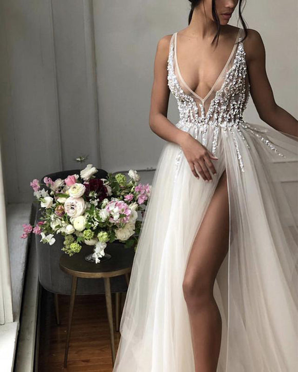 Ivory /Gray Beading Sequins Sexy Deep V Neck  Long Prom Party Dresses