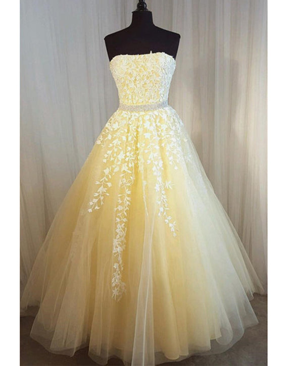 Strapless Yellow Lace and Tulle Girls Long Prom Dresses with Beading Belt