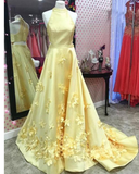 Siaoryne A Line Formal Yellow Halter Handmade Butterfly Prom Dresses Long PL524