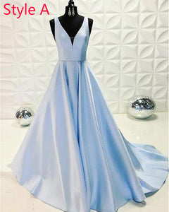 Light Blue A Line Satin Long Formal Prom Dresses LongO Vestido 2019