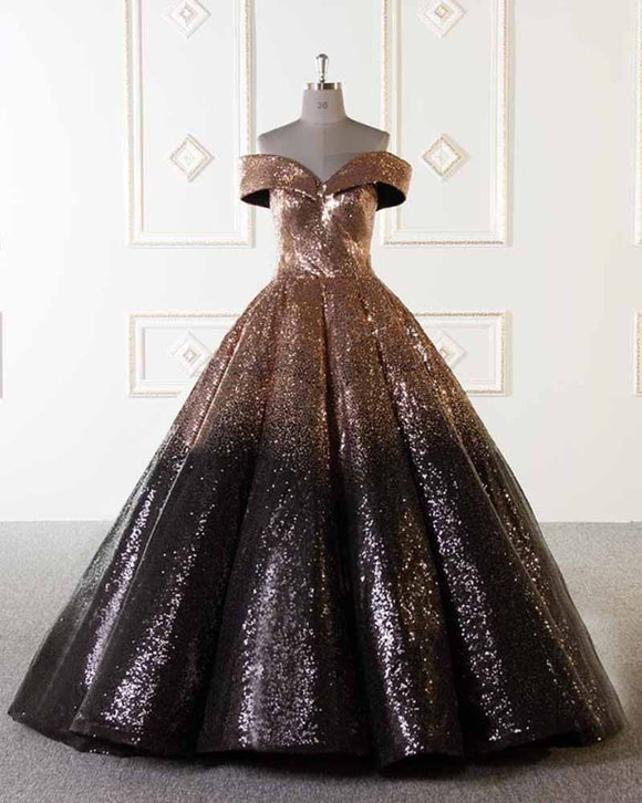 Luxury Sparkly Ball Gown Dresses Gold and Black Sequins Prom Evening Dresses PL749