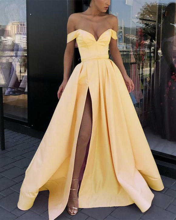 Lilac Slit A Line Satin Formal Evening Dress Prom Party Dresses 2019 PL124