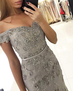 Grey Lace Beaded Mermaid Girls Pageant Dresses Long Formal Prom Gowns 2019 PL8785