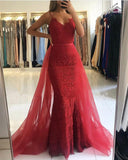 Red Spaghetti Straps Lace Mermaid Lace Prom Gown Pageant Dresses with Detachable Train For Women PL774