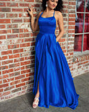 Royal Blue Prom Dresses  Halter Long Graduation Girls Party Gown with Split PL5587