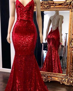 Burgundy Red Spaghetti Straps Mermaid Prom Dresses Long Evening Party Gown PL663