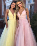Sexy V Neck Bling Bling Sequins Prom Dress Long Graduation Party Gown with Straps PL5523