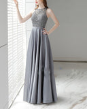 Tank Boat Neck Gray Prom Dresses Long Satin with Lace Beading PL874