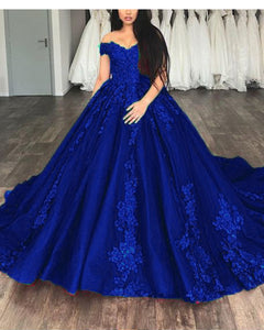 Royal Blue Ball gown Lace Wedding Dresses Prom Reception Party Gown 2019 WD6312