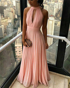 Pleated Halter Coral Pink Long Party Dress Women Formal Evening Gowns 2019 PL541