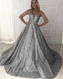 Champagne/Gray Ball Gown Sequins Bling Bling Prom Dresses Sexy V Neck with Straps PL341