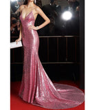 Bling Bling Spaghetti Straps Sequins Prom Dress Pink Long Party Gown PL4412