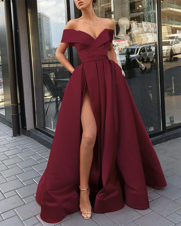 Siaoryne Burgundy Off Shoulder Prom Dresses 2021 Long with Slit Leg & Pockets PL142