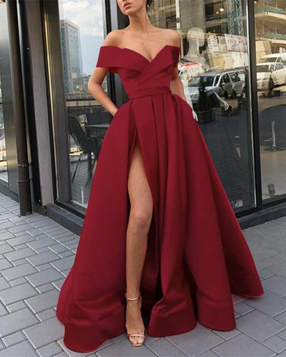 Elegant  Yellow/Wine Red Off the Shoulder Satin A Line Formal Long Gowns  for Prom PL6741