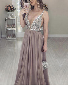 Brown Sexy A Line Long V Neck Prom Dresses PL5541