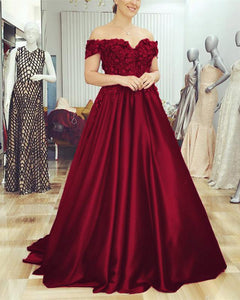 Burgundy Wedding Gown Satin Off the Shoulder Formal Dresses  with Lace Flowers LP6632