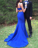 Boat Neck Royal Blue Mermaid Fitted women Party Dresses Long Formal gown PL512