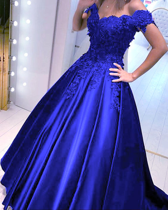 Royal Blue Ball gown Lace Quinceanera Dresses Princess  Formal  Wedding Gown PL225