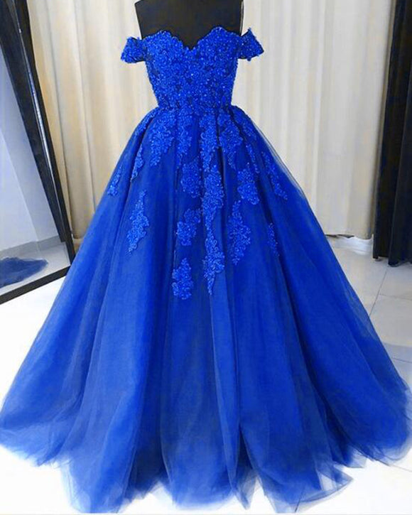 Royal Blue Ball Gown Debutante Gown Girls Lace Prom Dresses PL3392