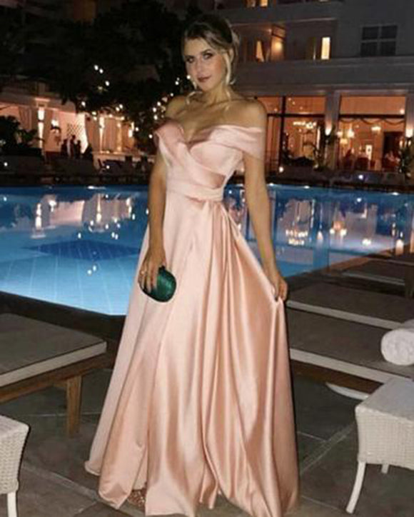 Blush Pink Girls Prom Formal Dresses Long Satin A Line Graduation Gown 2019 PL998
