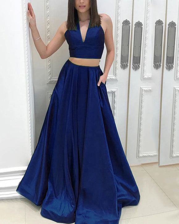Halter Sexy royal Blue Crop Top Senior Prom Dress Girls Graduation Gown  Skirt Long