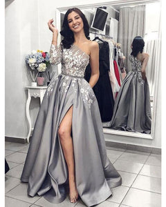 One Shoulder White Lace  Gray A Line Evening Prom Dresses Long 2019 PL6212