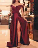 Burgundy Red Slit Long Dress For Party Evening Gown PL665