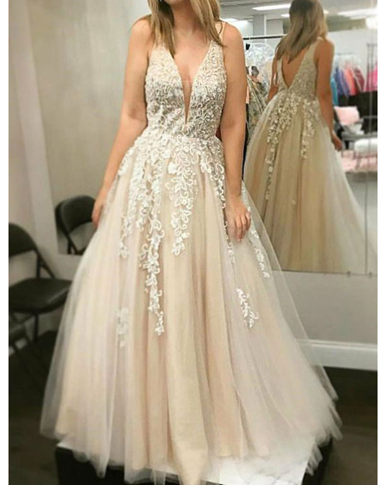 Champagne V Neck Lace Prom Dresses Senior Girls Long
