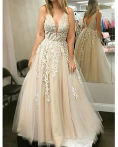 Champagne V Neck Lace Prom dresses Senior Girls Long Formal Party Gown 2019