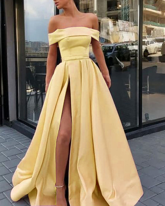 Off the Shoulder Slit A Line Satin Girls Elegant Prom Dresses Long Party Gown PL669