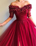 Long Off the Shoulder Red Tulle Dress Prom Party Gown with Slit PL844