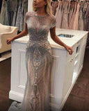 Champagne Long Mermaid Prom Dresses with Full Beading vestido de fiesta PL5476