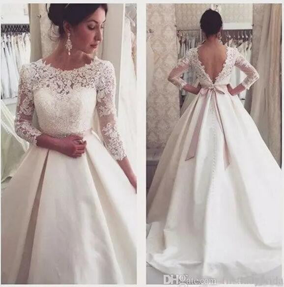 Siaoryne Vintage Long sleeves V Back Satin Lace Beading Wedding Gowns