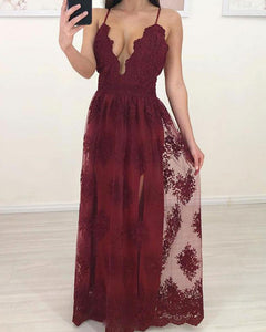 Burgundy Lace Prom Dress Women Long Party Dresses With Straps 2019 PL447
