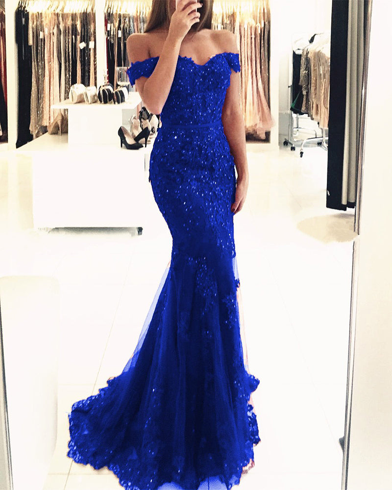Royal Blue Lace Mermaid Prom Gown Off Shoulder with Sequins Long PL614