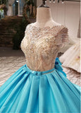 Cap Sleeves See Through Beading Luxury Ball Gown Prom Long Dresses Girls PL654
